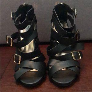Steve Madden Black Strappy Heels-Never Worn!